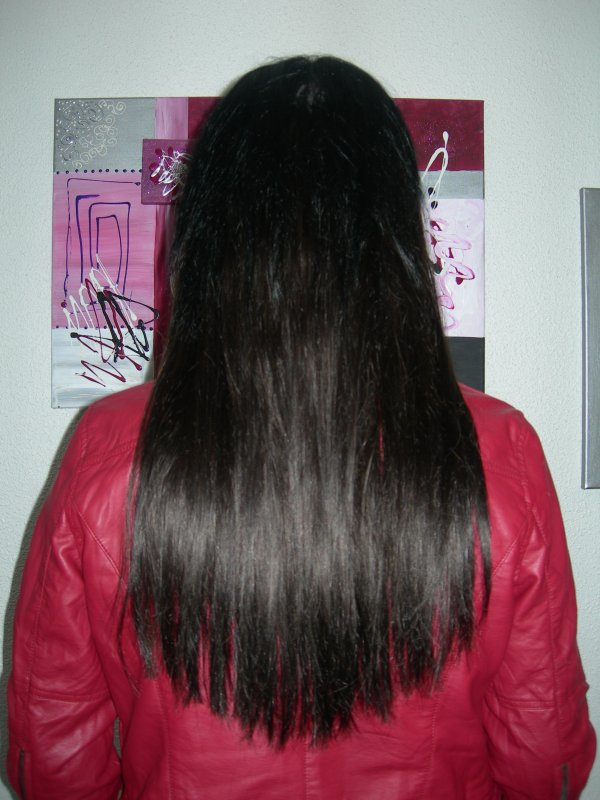 pose de 150 extensions noir naturel 55cm en 1g