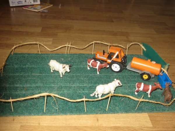 maquette agricole les vache dans le pre  avec fiat 780 et tonne a eau