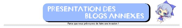 Présentation des blogs annexes.