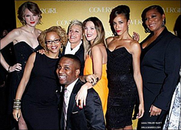 * 05/01/11 : Taylor était également présente au 50ème anniversaire de Covergirl après les PCA.Elle était sublime dans sa robe noire à paillettes, look classique mais qui fait toujours son effet.  *
