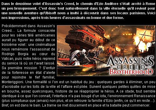Aperçu De Assassin's Creed : Brotherhood