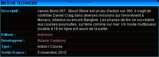 James Bond 007 : Blood Stone