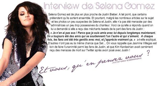 . ♥ 12/25 . Interview de Selena Gomez .