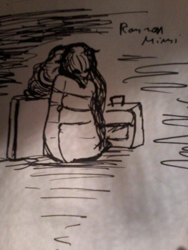 Ronron mimi assis sur des baguages