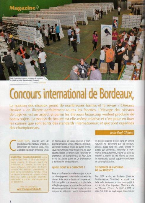 BEL ARTICLE  SUR  LE CONCOURS DE BORDEAUX  2012