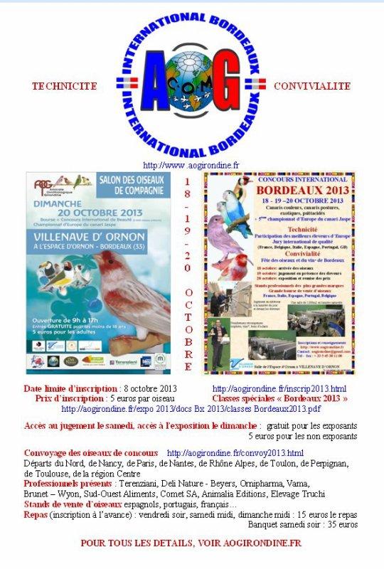 INVITATION AU CONCOURS DE BORDEAUX 2013
