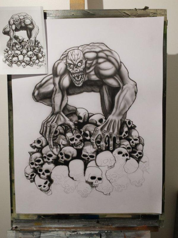 reproduction d'un artiste, travail à main levée.