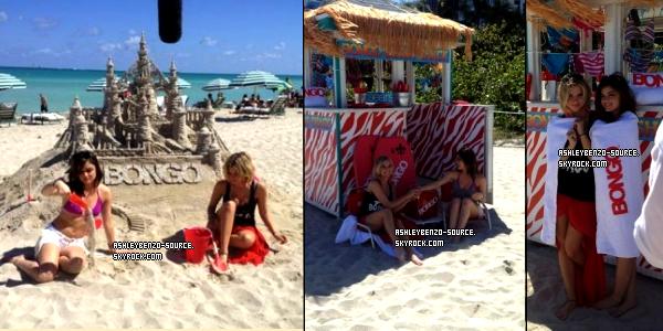 23/03/12: Ashley & Lucy à la bongo beach party aujourd'hui + les filles tournant une scène d'arrestation + photo postée sur twitter.