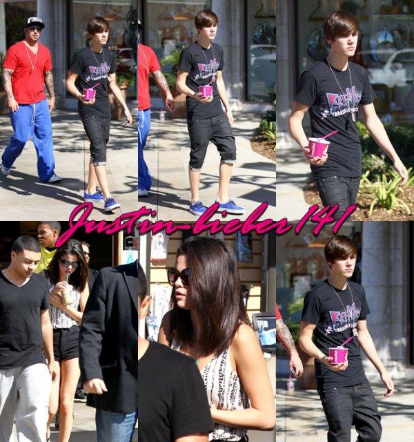 Justin & Selena quittant un café à Los Angeles