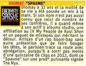 Article magazine International Hip-Hop #19 du clip de Diomay spasme produit par DjPimp Dj-Beatmaker aka The Nyx (Beatmaker)