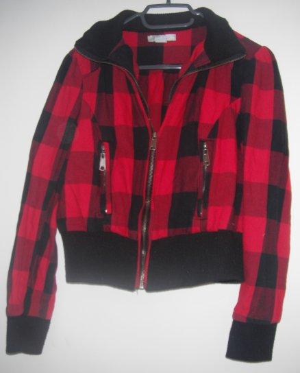 veste rouge imprimé écossais