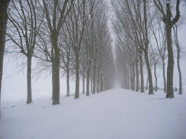 Devant notre chez nous en hiver