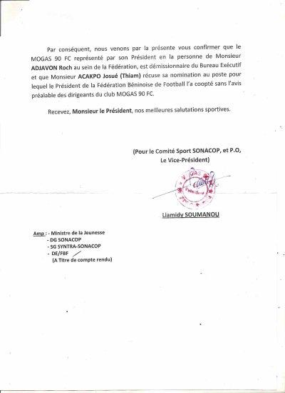 Bureau nommé par Anjorin : Thiam Acakpo n'a pas été concerté avant a nomination
