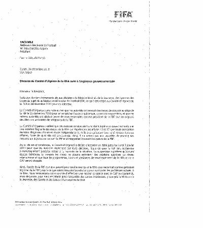 La Fifa pose un ultimatum au ministre des sports