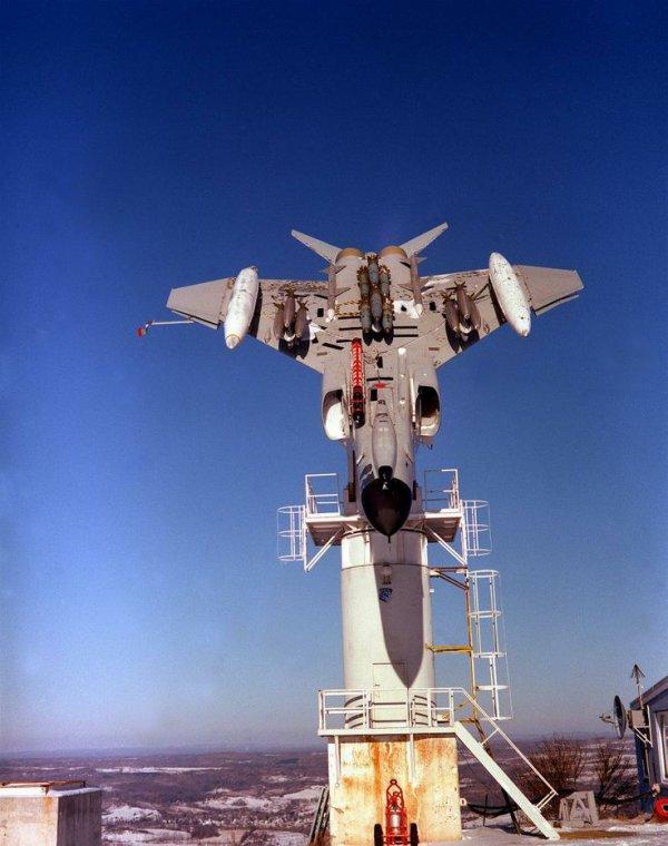 simotron: Newport Rome F-4 Phantom Mounted upside-down to test radar profile.