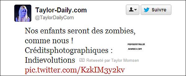 26/04/13 : Taylor ne peut pas vivre sans son Twitter, la preuve ci-dessous avec des photos et tweets récents.