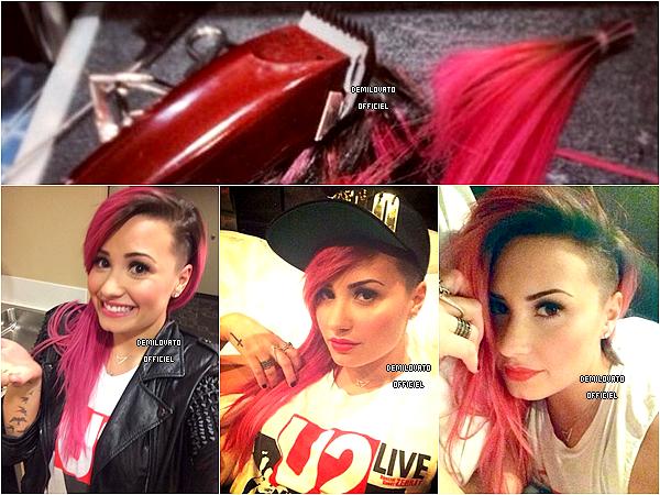 04.03.2014 - Demi s'est fait un sidecut dans la matinée à Bethlehem. Elle a posté les photos sur twitter.