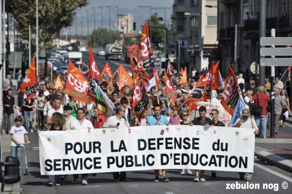 Profs et élèves manifestation perpignan 27 septembre 2011