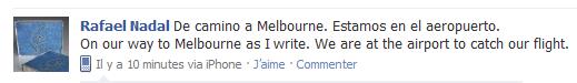 """Fb Rafa / 09.01.11 /  """" En route pour Melbourne. Nous sommes dans l'aéroport. """""""