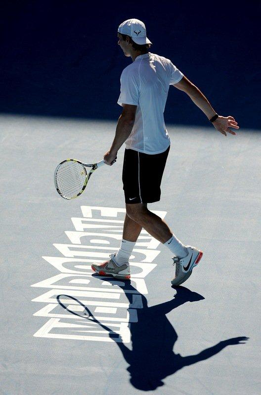 """Australian Open 11 / 02 """" Tout va bien ici à Melbourne. Je m'entraîne 2h par jour et bien. """""""