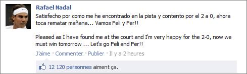 """16/09/11: """" Nous avons joué à PES sur Playstation ce soir. Par respect pour mon ami Ferru, je ne vous dirai pas le résultat final :) """""""