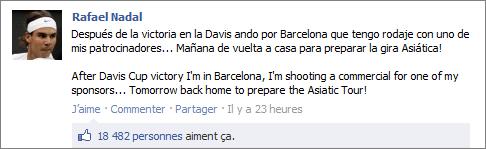 """20/09/11 : """""""" Après la victoire en Coupe Davis, je suis à Barcelone car j'ai un tournage commercial pour l'un de mes sponsors ... Demain je suis de retour à la maison pour préparer le tour asiatique !"""""""