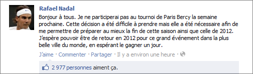 BNP Paris Masters : Rafa forfait !