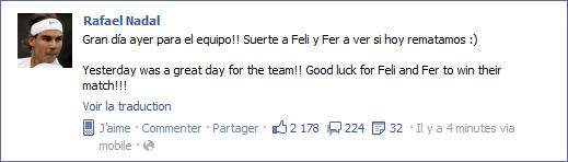 """03.12.11 : """" Hier était une grande journée pour l'équipe ! Bonne chance à Feli et Fer pour qu'ils gagnent leur match !"""""""