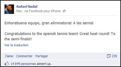 06.04.12 : Message de Rafa à ses coéquipiers de Coupe Davis