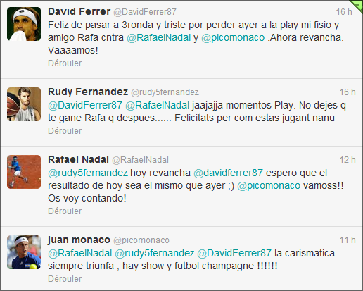 Roland Garros 2012 / 08 : le combat de Playstation entre Rafa, Ferrer et Monaco