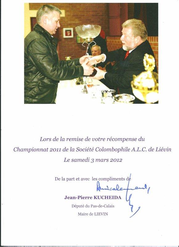Photo diplome souvenir délivré par Mr Kucheida saison 2011 Alc Calc