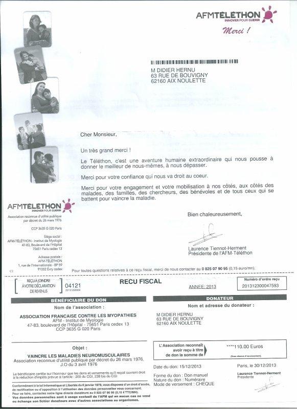 Reçu hier 13/01/14 la preuve de mon Don au Téléthon 2013 le chèque a bien été encaissé