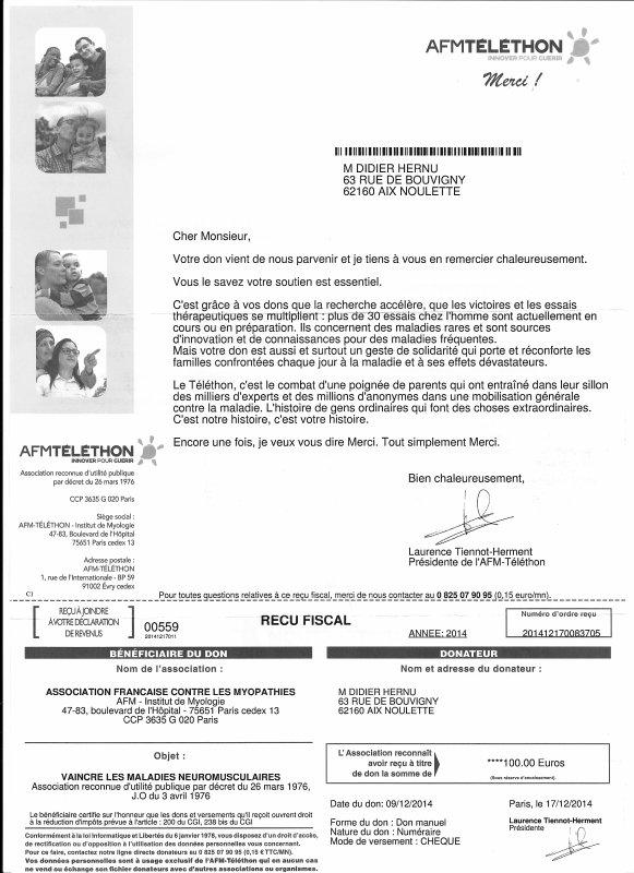 """Le Téléthon 2014 """" La Puissance des colombophiles au service du Téléthon """" CHEQUES Reçus"""