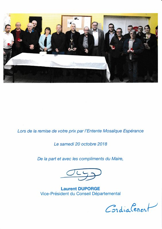 Remise des Prix de L Espérance Mosaique de Calonne Lievin ce 20 0ctobre 2018