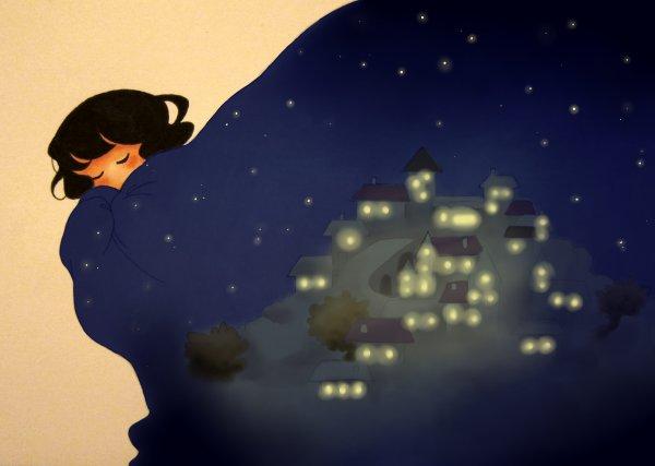 Dans son manteau de nuit