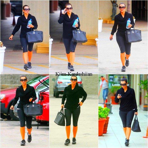 11/08/11. Kim Kardashian a été repéré sortant de la gym tôt ce matin.