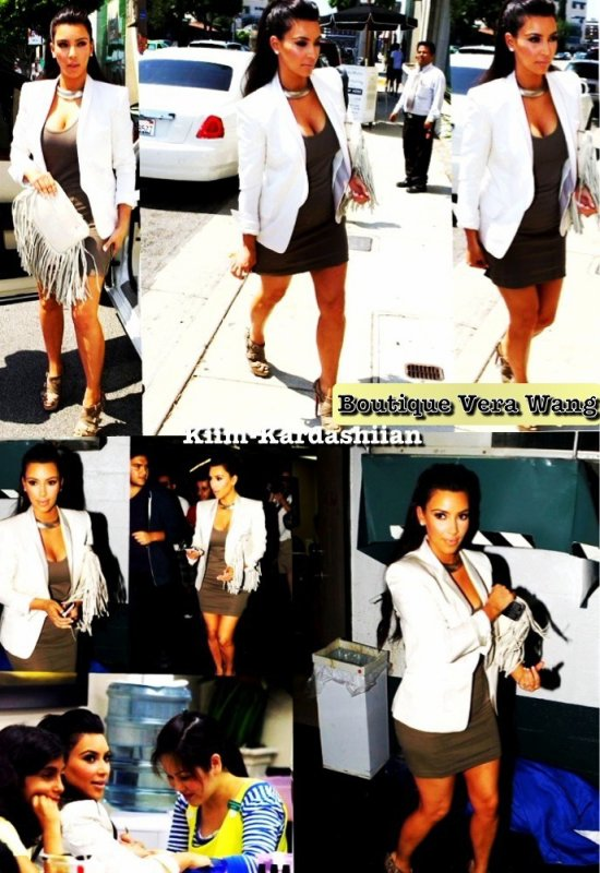 19/08/11. Ce matin Kim Kardashian c'est rendu à la boutique de Vera Wang de Los Angeles pour quelque retouche. Puis après elle c'est rendu à son salon habituelle de manucure à Beverly Hills.