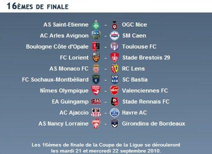 Tirage au sort des seizièmes de finale de la Coupe de la Ligue