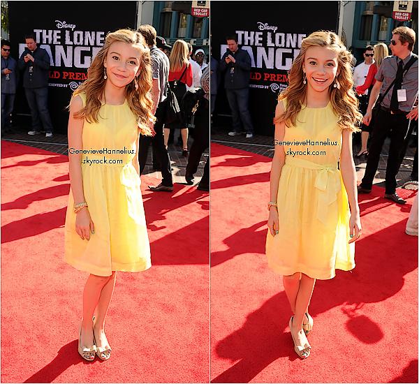 """Découvrez deux nouvelle photo de Genevieve lors des """"The Lone Rangers"""" le 22 juin 2013."""
