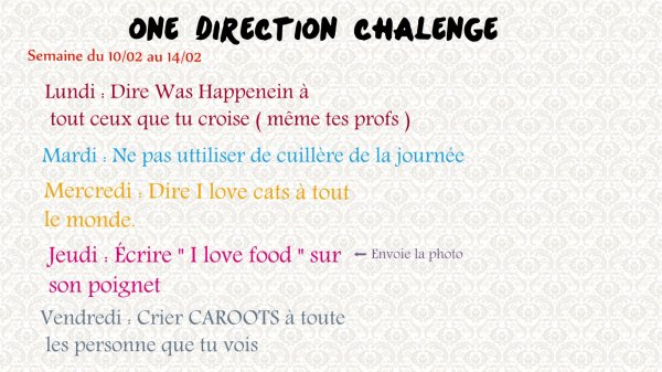 One Direction challenge
