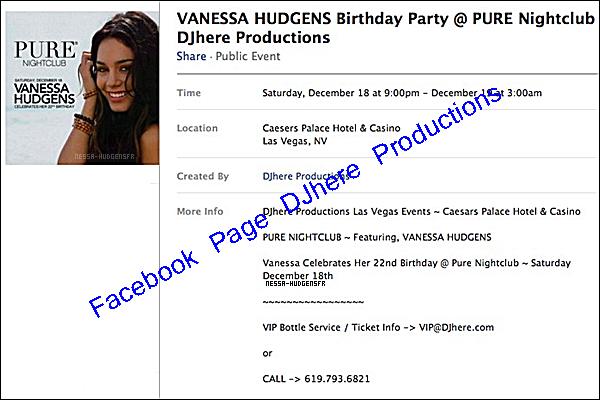 . Vanessa célébrera ses 22 ans à l'Hôtel Palace & Caesers Casino à Las Vegas. Clique-là pour voir.  .
