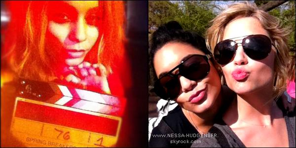 27/03 - Vanessa et ses co-stars de Spring Breakers ont été aperçu sur le set.  Tenue : ♥♥♥♥