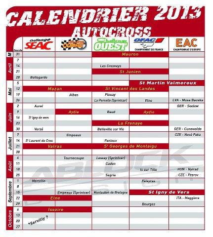 Calendrier Saison 2013...
