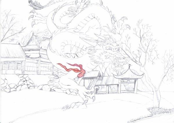 Dessin de dragon asiatisaque (je dit pas chinois car au jap ils ont les même)