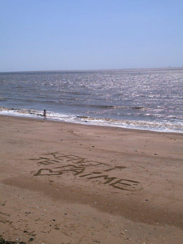 Vacance 2014 à Saint Brévin les Pins et message sur le sable pour mon p'tit ange Kenji