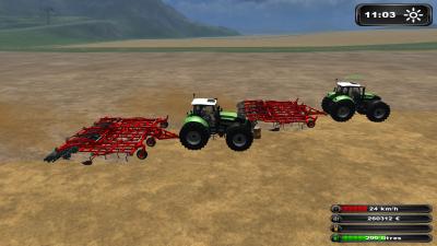 """Farming-Simulator 2011 : déchaumage avec """"pl1999"""" (suite)"""