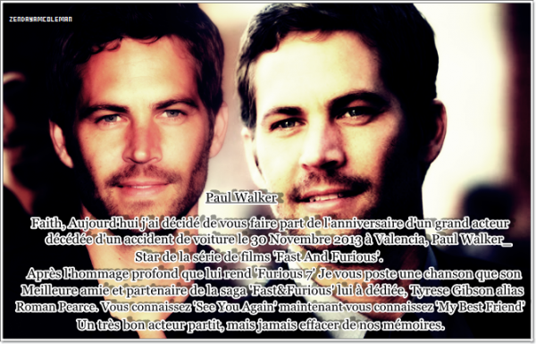 Paul Walker Tribute & Zendaya News Stills.