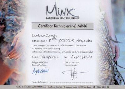 Mon certificat de formation Minx du 21 Mars 2011 .