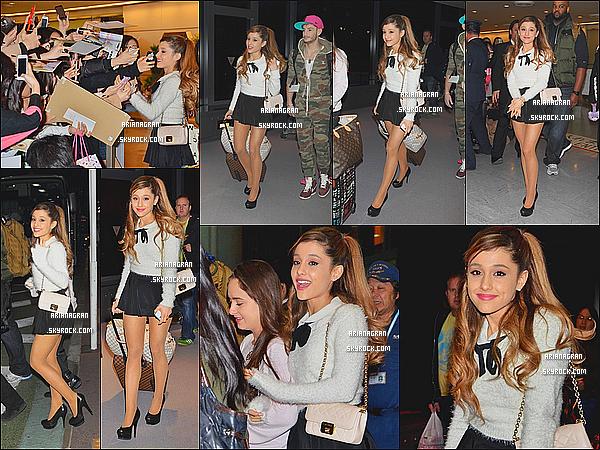 - 31/12/13: Notre magnifique Ariana Grande a été photographiée arrivant à un aéroport de Tokyo. Elle est très jolie! Je lui accorde un TOP pour sa tenue! Et toi? TOP ou FLOP?