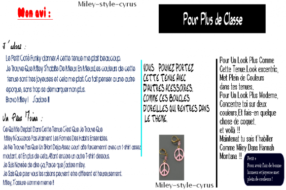 1er Article : The Style Of Miley
